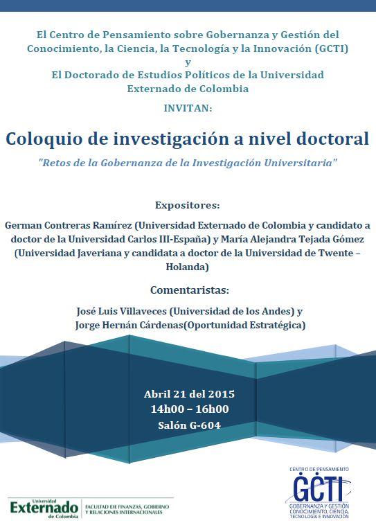 Coloquio de investigación a nivel doctoral - Abril 21 2015