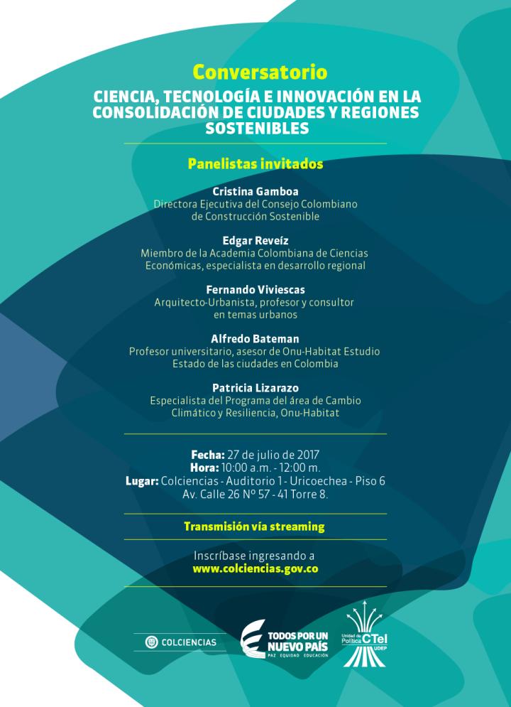 Conversatorio - Ciencia, Tecnología e Innovación en la consolidación de Ciudades y Regiones Sostenibles